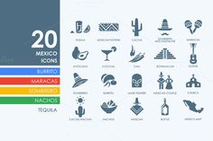 20 Mexico icons by Palau on Creative Market