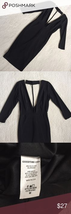 """Black V-Neck Choker Dress Super sexy and trendy dress. In new without tags condition. Labeled a medium but runs more like a Small. About knee length. Sleeve are 3/4 length.  Length (shoulder to hem) 37""""  Waist 24"""" Hip 28"""" Sleeve 17"""" Choker/Collar 12.5""""  (Stock photo NOT actual dress. Just a close representation.) Dresses"""