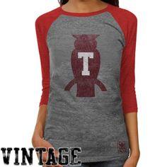 I dig this...adidas Temple Owls Ladies Supersize Fan 3/4 Raglan Sleeve Tri-Blend T-Shirt - Ash/Cherry