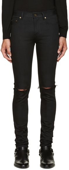Saint Laurent: Black Original Low Waisted Ripped Skinny Jeans | SSENSE