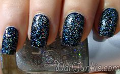 Check out the polishes used for this sparkle-y manicure at nailjunkie.com!
