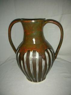 Laura Wowk Pottery Amphora wheel thrown, ancient jasper glaze, underglaze and gloss glaze