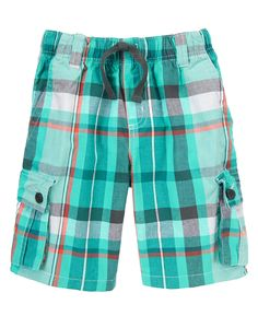 Plaid Drawstring Cargo Shorts at Gymboree (Gymboree 3-12y)