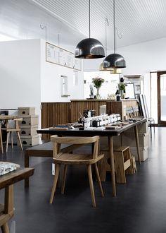 The Shop Of The New, Copenhagen | LOVE this floor...coloured concrete?