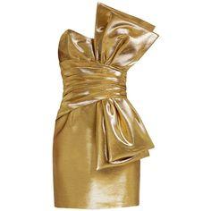 Saint Laurent Strapless lamé bow dress (276.090 RUB) ❤ liked on Polyvore featuring dresses, short strapless cocktail dress, 80s dress, short wrap dress, strapless cocktail dresses and yves saint laurent
