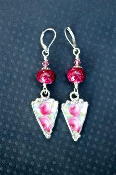 Broken China Jewelry Triangle Earrings by Robinsnestcreation1