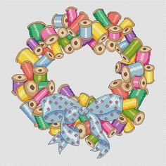 sewing wreath cross stitch chart