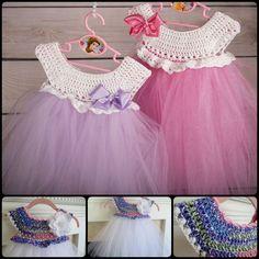 Empire Waist Crochet Tutu Dress with Free Pattern.. 20+ Crochet Girl Dress with Free Pattern--> http://coolcreativity.com/crochet/20-crochet-girl-dress-with-free-pattern/