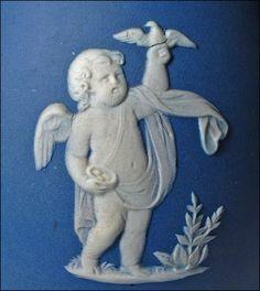 Wedgwood Cobalt Blue Dip Jasper Ware Bottle Vase - 19th C Antique
