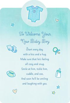 Welcome With a Kiss and Hug New Baby Boy Card - Greeting Cards - Hallmark Baby Boy Congratulations Messages, Baby Card Messages, Baby Shower Card Message, Baby Cards, Welcome Baby Boys, New Baby Boys, Baby Boy Poems, Baby Boy Sayings, Wishes For Baby Boy
