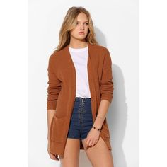 BDG London Cardigan ($59) via Polyvore featuring tops, cardigans, sweaters, brown, open front cardigan, low tops, long brown cardigan, brown cardigan and bdg