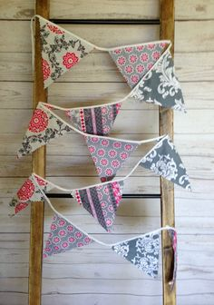 Bunting Banner 12 Penant Flags Fabric by ThePeachPolkaDotShop