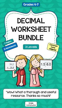 This worksheet bundle features all of my differentiated Decimal Worksheets in one convenient package.  There are 7 different Decimal Topics each with 3 different Levels for a Total of 21 Worksheets. Level 1 is Basic, Level 2 is Intermediate, and Level 3 is more Advanced. Answer Keys are included.