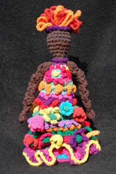 Four Seasons doll, Summer, freeform crochet from upcycled hosiery yarn