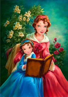 A portrait of Belle and her mother, to be displayed in Maurice's Cottage in New Fantasyland.