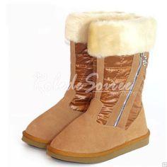 Bottes Fourrées-Elégante et sexy bottes mode BGG la neige en bottes de cuir marr