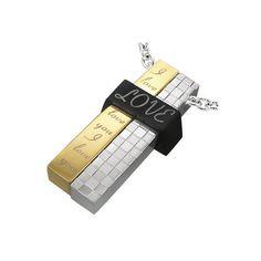 """Edelstahlanhänger """"Love""""    Farbe silber / gold / schwarz    Wunderschöner Edelstahlanhänger. Stylish, trendy, modisch. Super Geschenk zu einem top Pr"""