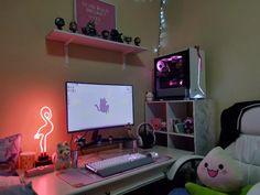 ✨♡(。- ω -) my setup after finally getting a PC xoxox I'm so happy and excited! Gaming Room Setup, Computer Setup, Pc Setup, Desk Setup, Video Game Backgrounds, Gaming Router, Star Citizen, Otaku Room, Pastel Room