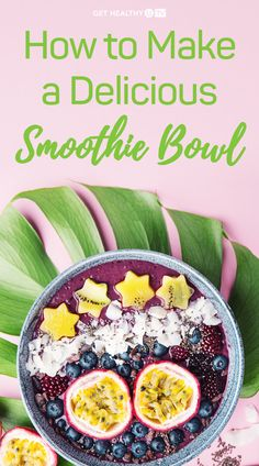 One of our favorite things to make for breakfast is a smoothie bowl; they're so easy to make and super healthy. Sweet Potato Pancakes, Clean Eating, Healthy Eating, Cauliflower Bites, Yummy Smoothies, Smoothie Bowl, Chia Seeds, Coconut Flakes, Vegan Recipes