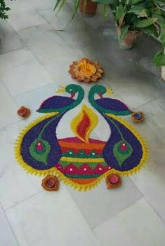 Happy Diwali Beautiful rangoli designs, Happy Diwali Images Wishes for Sms, Status, Jokes, Greetings Rangoli Designs Peacock, Easy Rangoli Designs Diwali, Rangoli Designs Latest, Latest Rangoli, Small Rangoli Design, Colorful Rangoli Designs, Rangoli Ideas, Rangoli Designs Images, Beautiful Rangoli Designs