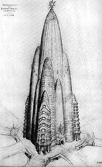 Gaudi's unrealized Hotel Attraction proposed in 1908 for New York City.