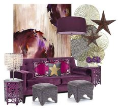 """""""Purple Passion..."""" by kimberlyd-2 ❤ liked on Polyvore featuring interior, interiors, interior design, home, home decor, interior decorating, Universal Lighting and Decor, jcp, Intelligent Design and Armen Living"""