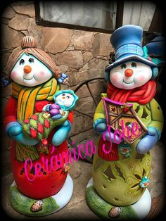 Christmas Clay, Christmas Figurines, Christmas Crafts, Xmas, Christmas Ornaments, Snowman Decorations, Christmas Decorations, Holiday Decor, Ceramic Painting