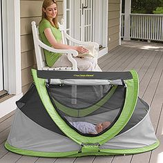 For when you go to the lake/beach/anywhere!. PeaPod Plus Baby Travel Bed...great from birth to age 6. Keeps bugs out, blocks the wind and protects from UVA rays. - seen these in action at the beach and they rock