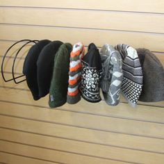 Beanie Cap Rack // View Larger Display up to ten beanies on slatwall, gridwall and slatgrid with this functional and practical beanie rack