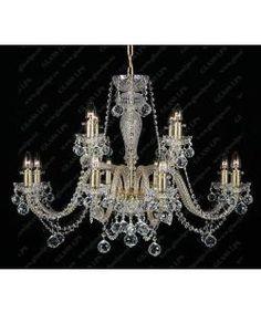 Lustra 12 brate cristal Bohemia L11 009/12/4; GOLD, lip. - - Universul luminii | Corpuri de iluminat, lustre Chandelier, Ceiling Lights, Lighting, Home Decor, Modern Chandelier, Candelabra, Decoration Home, Light Fixtures, Room Decor