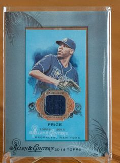 David Price Tampa Bay Rays 2014 Allen & Ginters Mini Framed Relic - Baseball Cards of the Month Club