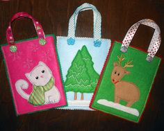In The Hoop Christmas Treat Bag Applique Set by NewfoundApplique