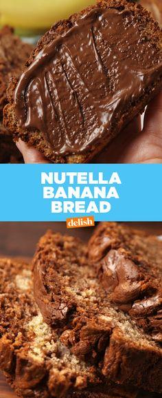 Nutella + Banana Bread = match made in heaven. Get the recipe at Delish.com.