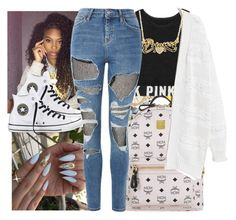 """""""."""" by eirinimaria ❤ liked on Polyvore featuring MCM, Victoria's Secret, Violeta by Mango, Converse, Bomedo and Topshop"""