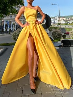 Strapless Long Satin Prom Dresse with Slit FD1776 – Viniodress