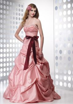 (NO.037175 )2011 Style A-line Sweetheart  Beading  Sleeveless Floor-length Taffeta Pink Prom Dress / Evening Dress