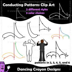 Clip art conducting patterns and conductors. Perfect for music teachers. $