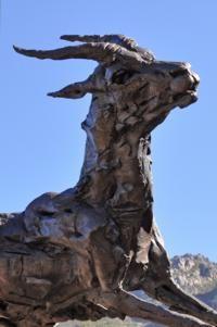 Cape Town.  Kirstenbosch gardens.  Dylan Lewis impala bronze