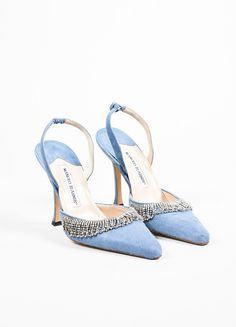 Manolo Blahnik Blue Pony Hair Scalloped Rhinestone Pointed Toe Slingbacks #manoloblahnikheelsblue