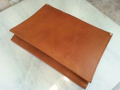 Leather Document Envelope / Case for Office / Desk. Antique natural color. Real leather handmade by me.