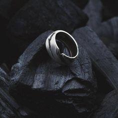 Silber Ring Herren Natur nordischen Brutalist Geschenk für