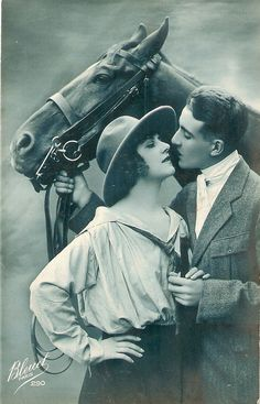 Interesting real photo postcard Lovely Couple with their horse Very nice French Postcard on Etsy, $10.00