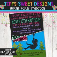 Zipline birthday party invitation invite zip line adventure zip line birthday party zip line invitation girls outdoor birthday party zipline stopboris Gallery