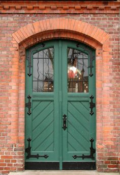Door with glass and large hinges
