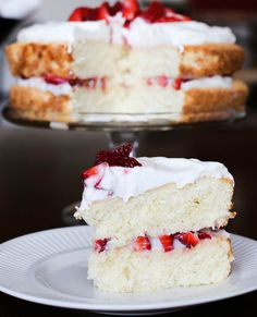 Strawberry-Lemon Sponge Cake with Limoncello Spiked Cream