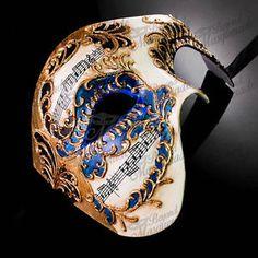 Mens Musical Half Phantom of the Opera Venetian Masquerade Ball Mask Mascarade Mask, Mens Masquerade Mask, Vampire Masquerade, Venetian Masquerade Masks, Halloween Masquerade, Masquerade Party, Blue Costumes, Men's Costumes, Phantom Mask