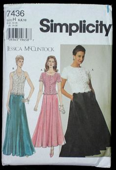 Simplicity pattern 7436 Jessica McClintock top, gored skirt sizes 6, 8, 10.  $5.50 by FindersOfKeepers via Etsy  10720