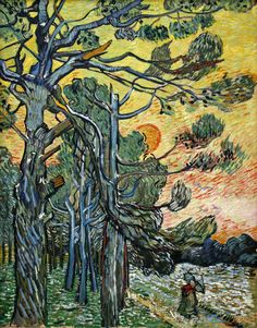 Pine Trees against a Red Sky with Setting Sun by Vincent van Gogh