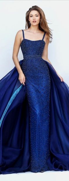 ❤ SHERRI HILL • In Navy Blue, Sleek Beaded Evening Gown w. Shoulder Straps, Including Lightly Beaded w. Cape at Waist of Gown/or Cape Dress • #32346 ❤