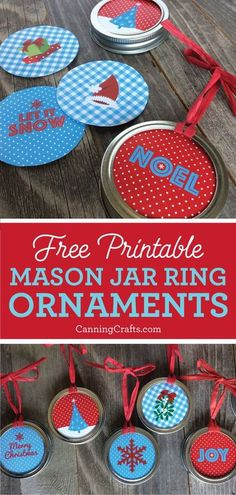Mason Jar Ring Christmas Ornaments are a perfect gift for canners. DIY Christmas ornaments are a fun way to repurpose old mason jar canning rings. Get the FREE printables on CanningCrafts.com | #freeprintables #christmas #christmasgift #diychristmasgift #christmasornament #kidscrafts #christmasdecor #christmasdecorations
